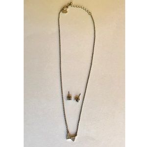 Small Bow Tie Necklace & Earrings- American Eagle
